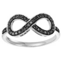 Silver & Black Diamond Infinity Ring 1/4 ctw :  FR1385