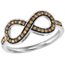 Silver & Brown Diamond Infinity Ring 1/4 ctw :  FR1386