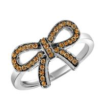 Silver Brown Diamond Ring 1/4 ctw :  FR1389