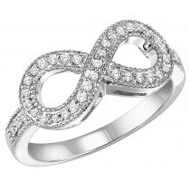 Silver &  Diamond Infinity Ring 1/4 ctw :  FR1393