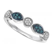 White Gold Blue and White Diamond Ring:  FR1398