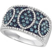 White Gold Blue and White Diamond Ring 1/2 ctw:  FR1399
