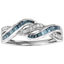 Gold Blue & White Diamond Ring 1/2 ctw/FR1402