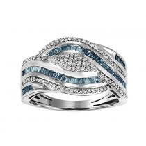 10k Gold Blue & White Diamond Ring 3/4 ctw/FR1406