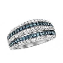 Gold Blue & White Diamond Ring 1ctw/FR1407