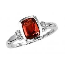 Garnet & Diamond Ring in 10K White Gold /FR4035