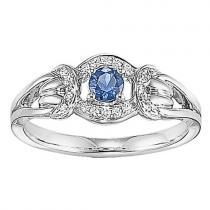 Sapphire & Diamond Ring set in 14K Gold