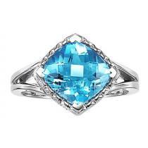 Blue Topaz Ring in 10K White Gold / FR4055B