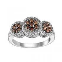 5/8 ctw Brown & White Diamond Ring in 14K White Gold / FR4081