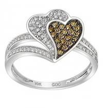 1/3 ctw Brown & White Diamond Ring in 10K White Gold / FR4088