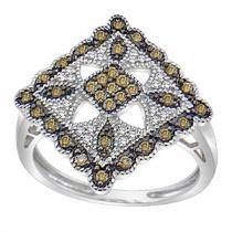 1/3 ctw Brown & White Diamond Ring in 10K White Gold / FR4089