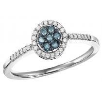10K Gold Blue & White Diamond Ring 1/4 ctw/FR4115