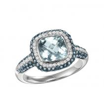 Silver Blue and White Diamonds with Blue Topaz Ring/FR4118