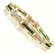 14K White & Yellow Gold Diamond & Emerald Bracelet. / G171YEC