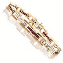 14K White & Yellow Gold Diamond & Ruby Bracelet: / G171NRC