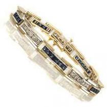 14K White Gold Diamond & Sapphire Bracelet:G171WSC