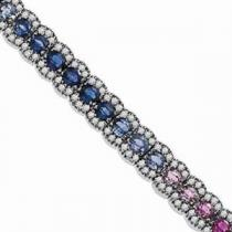 14K White Gold Diamond & Multicolor Sapphire Bracelet / GES453MULTIC