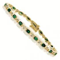 14K Yellow Gold Diamond & Emerald Bracelet / GOC101YEC