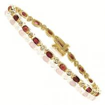 14K Yellow Gold Diamond & Ruby Bracelet / GOC101YRC