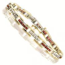 14K White & Yellow Gold Diamond & Ruby Bracelet / GTN446WRC