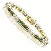 14K White & Yellow Gold Diamond & Emerald Bracelet / GTN536E 5ct