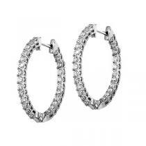2 ctw Ideal Cut Diamond Earrings in 14K White Gold / HDER093ID