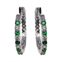 Emerald & Diamond Earring in 14K White Gold