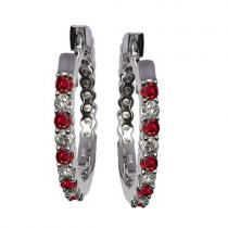 Ruby & Diamond Earring in 14K White Gold