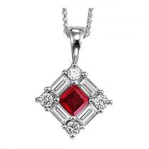 Ruby & Diamond  Pendant set in 14K Gold