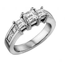 1 ctw Three Stone Plus Diamond Ring in 14K White Gold/HDR1328LW