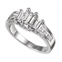 1/2 ctw Three Stone Plus Diamond Ring in 14K White Gold/HDR1333LW