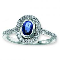 Sapphire & Diamond  Ring set in 14K Gold