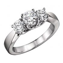 1 1/2 ctw Three Stone Diamond Ring in 14K White Gold/HDR1364LW