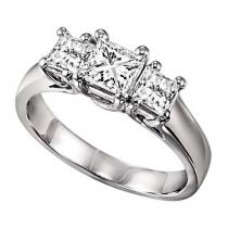 1 1/2 ctw Three Stone Diamond Ring in 14K White Gold/HDR1367LW