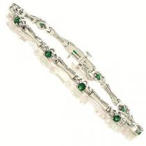 14K White & Yellow Gold Diamond and Emerald Bracelet / ISB948WEC
