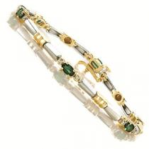 14K White & Yellow Gold Diamond & Emerald Bracelet / JB2282