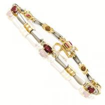 14K White & Yellow Gold Diamond & Ruby Bracelet  / JB2282NRC