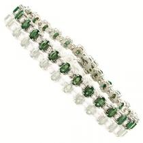 14K White Gold Diamond & Emerald Bracelet  / JB2417WEC