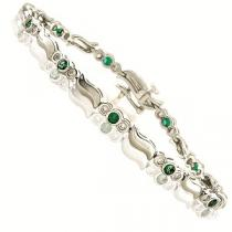 14K White Gold Diamond & Emerald Bracelet  / JB2533E