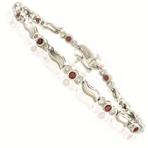14K White & Yellow Gold Diamond & Ruby Bracelet /  JB2533R