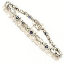 14K White Gold Diamond & Sapphire Bracelet / JB2533S