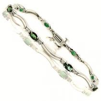14K White Gold Diamond & Emerald Bracelet / JB2656YEC