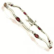 14K White Gold Diamond & Ruby Bracelet / JB2656YRC