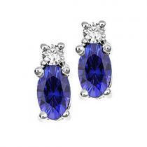 Sapphire & Diamond  Earrings set in 14K Gold