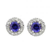 Sapphire & Diamond Earring in 14K White Gold