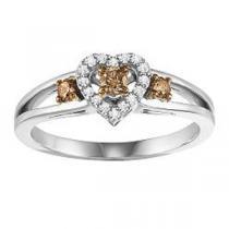 1/4 ctw Brown & White Diamond Ring in 14K White Gold /NR1713