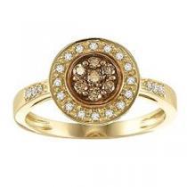 1/4 ctw Brown & White Diamond Ring in 10K Yellow Gold / NR1714