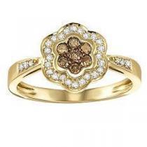 1/3 ctw Brown & White Diamond Ring in 10K Yellow Gold / NR1715