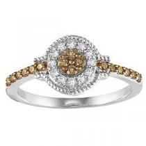 1/3 ctw Brown & White Diamond Ring in 10K White Gold / NR1723