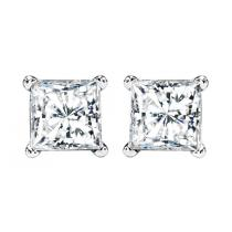 3/4 ctw Princess Cut Diamond Solitaire Earrings in 14K White Gold /PCWA 3/4